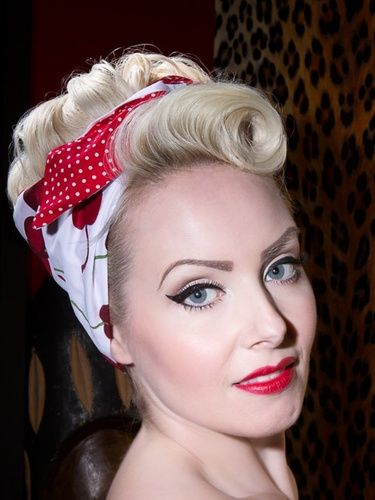 521865059ab6 White with large red cherry / red polka reverse Pin Up Curls, Pin Up Hair