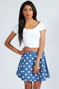 abac94a246 Zola Polka Dot Denim Skater Skirt £15   Buy - Skirts   Denim skirt ...