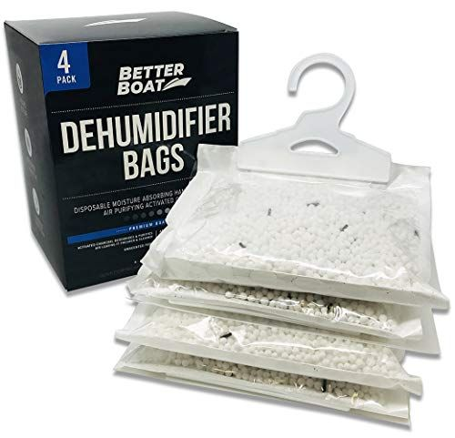 4 Pack Boat Dehumidifier Moisture Absorber Hanging Bags and Charcoal Deodorizer Remove Dam