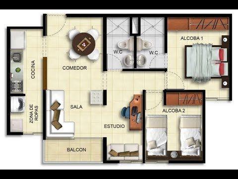 15 modelos de departamentos de 45 metros cuadrados for Diseno de apartamento de 4x8 mts
