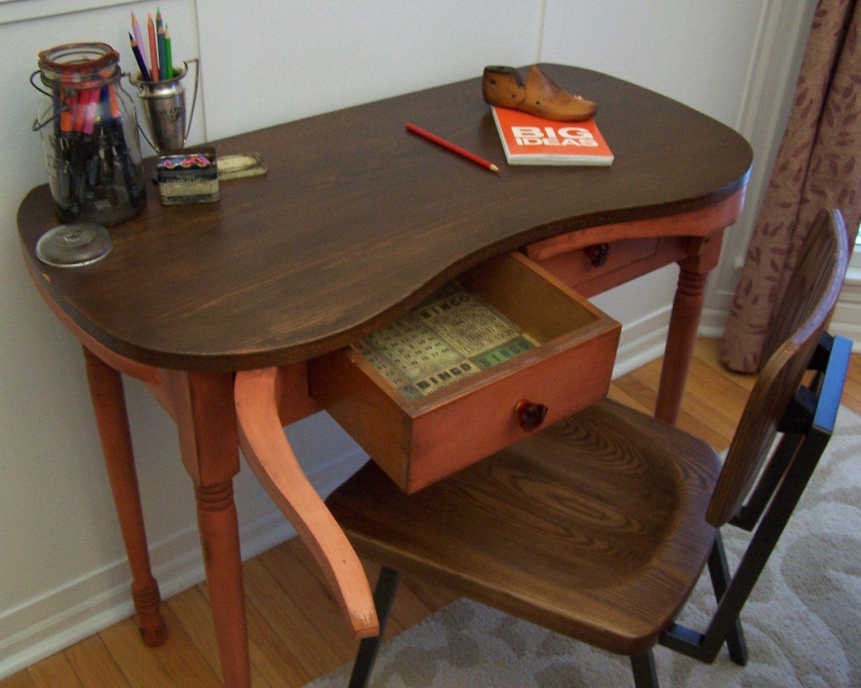 repurposed antique furniture. Kidney Shaped Vanity Vintage Antique Georgia Clay Refinished Repurposed. Repurposed Furniture
