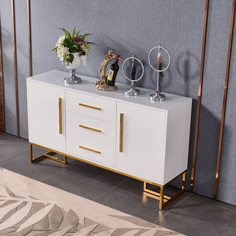 Modern Luxurious Black White Buffet Table 2 Doors 3 Drawers Kitchen Storage Sideboard Cabinet In Gold Small Large White Buffet Table White Sideboard Buffet White Buffet