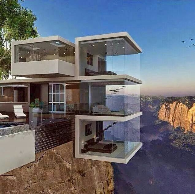 Contemporary home hanging off the edge of a cliff for Cliff hanging homes