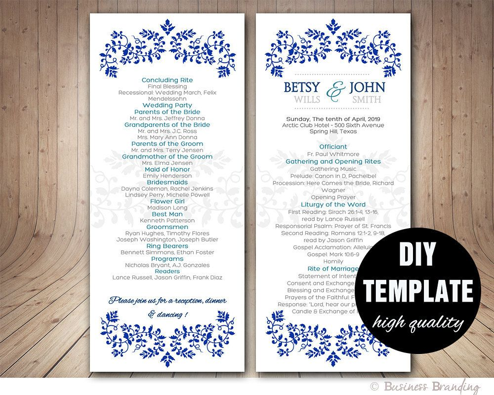 BLUE Wedding Program Template,Instant Download Microsoft Word,Damask ...