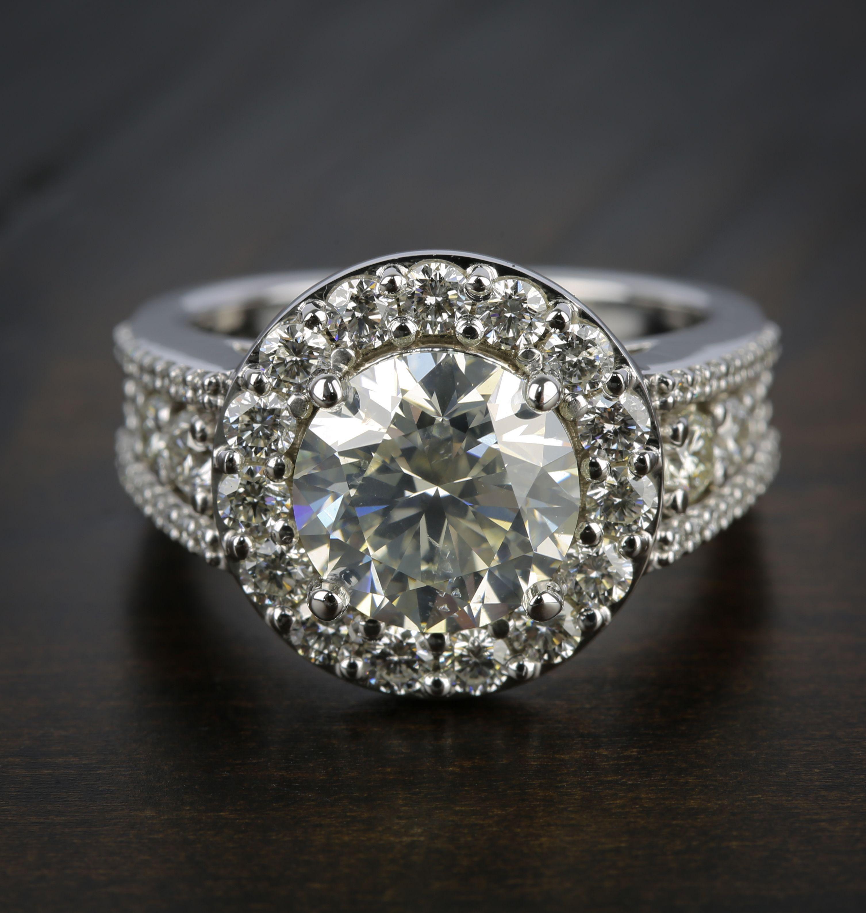 Large Halo Diamond Engagement Ring (3.50 Carat) Diamond