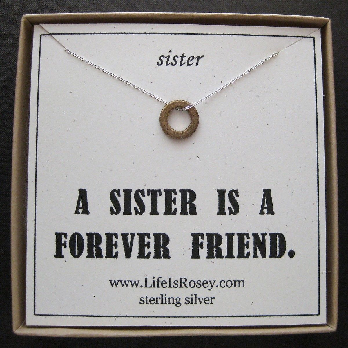 Sterling silver sister charm necklace a life is rosey original sterling silver sister charm necklace a life is rosey original quote card gift for sister gift for sis sister gift 2800 via etsy negle Choice Image
