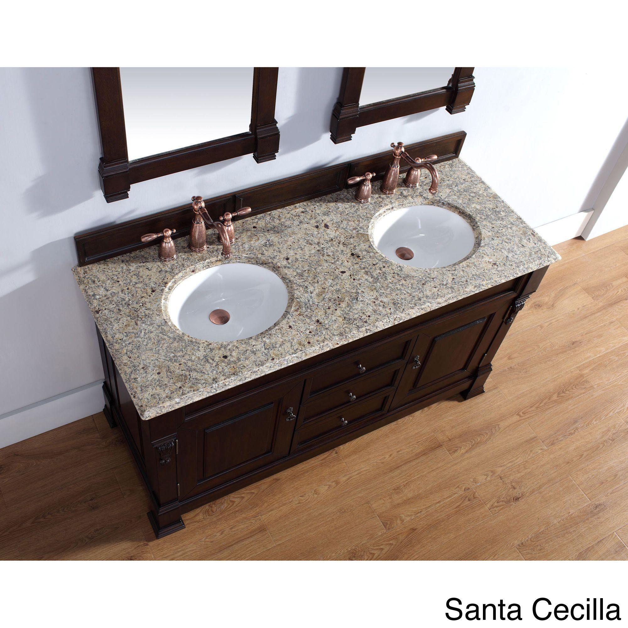 James Martin Furniture Brookfield Mahogany Double Vanity (60 Brookfield Mah Van - Santa Cecilla Top), Beige, Size Double Vanities