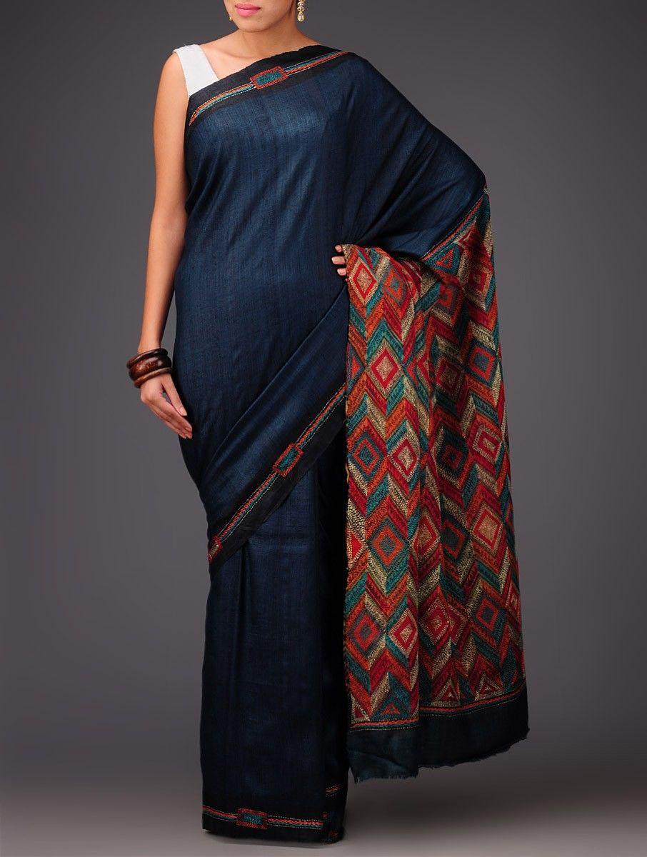 5ccf5b723a8caa Buy Royal Blue Tussar Silk Kantha Embroidered Saree Sarees Art Reveal Tales  Online at Jaypore.com