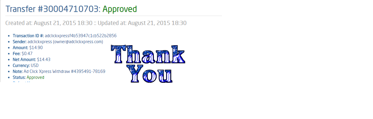 Get out of debt by doing something fun for a change! AdClickXpress is the top choice for passive income seekers. Making my daily earnings is fun, and makes it a very profitable! I am getting paid daily at ACX and here is proof of my latest withdrawal.  This is not a scam and I love making money online with Ad Click Xpress. http://www.adclickxpress.com/?r=srq8kbevjfv&p=aa