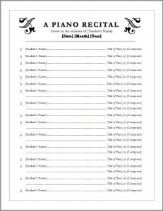 recital template