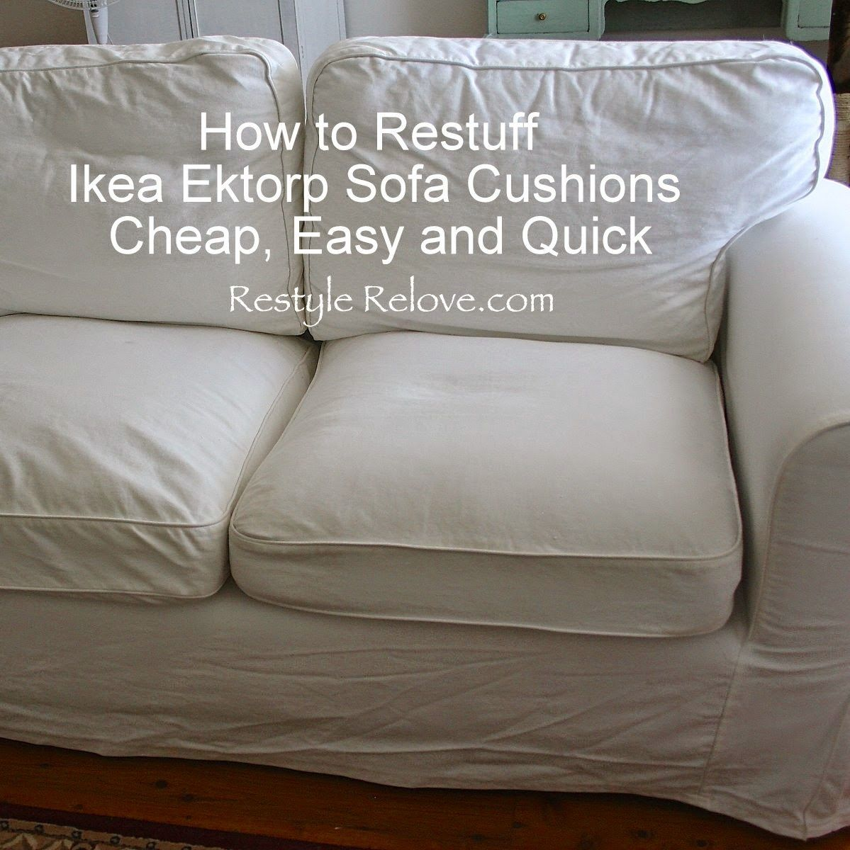Restyle Relove How To Restuff Ikea Rp Sofa Cushions Easy And Quick