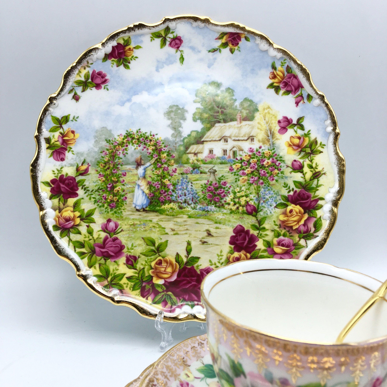 Assiette Porcelaine Anglaise #14: Assiette à Dessert Assiette Gâteau Royal Albert Fine China Bone Porcelaine  Anglaise Or Fleurs Paysage Scène