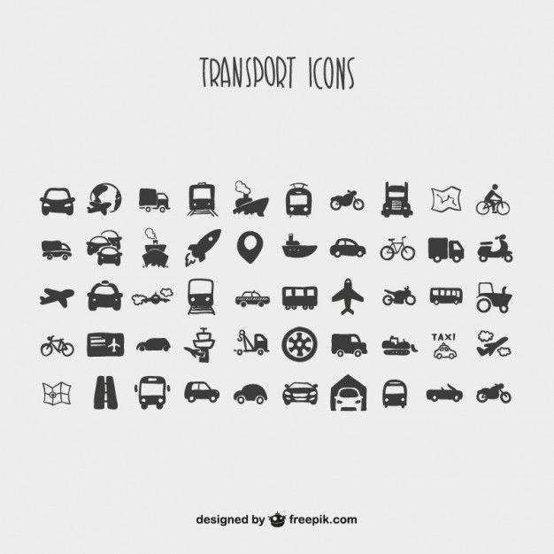 Cartoon Colecao De Icones De Transporte Vector Iconos Transporte