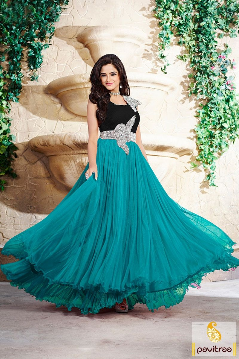 Buy Online #Turquoise #Net Gown Style Prom Dress For Women #gown ...