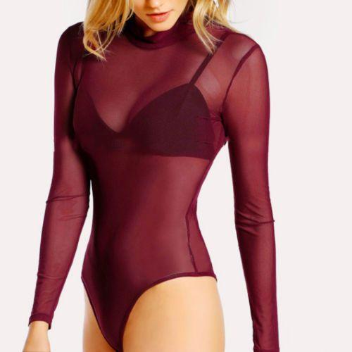 Womens Short Sleeve Bodysuit Leotard Bodycon Bandage Hollow Out Turtle Neck Jumpsuit Romper Tops Women's Clothing