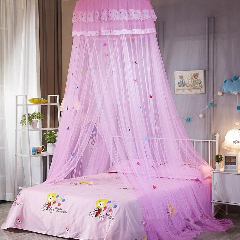 Kids 26 Round Sheer Hearts Stars Bed Canopy In 2020 Kids Bed