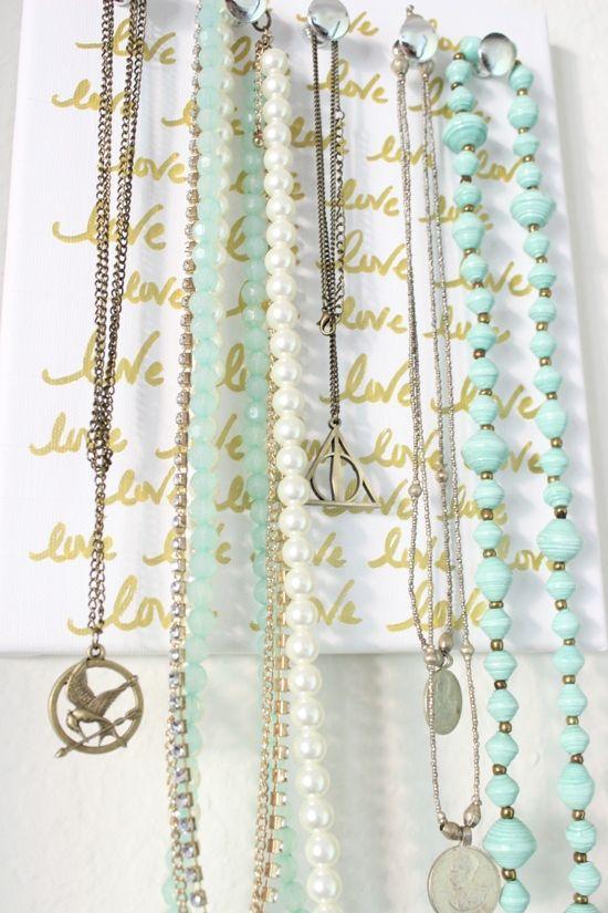 Gold Writing Canvas Necklace Organizer Diy Diy