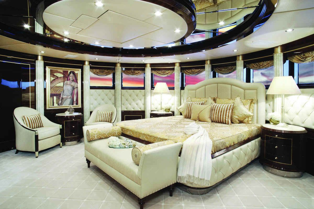 Bedroom Inside Luxury Yacht Diamonds Are Forever By Benetti   200 Feet