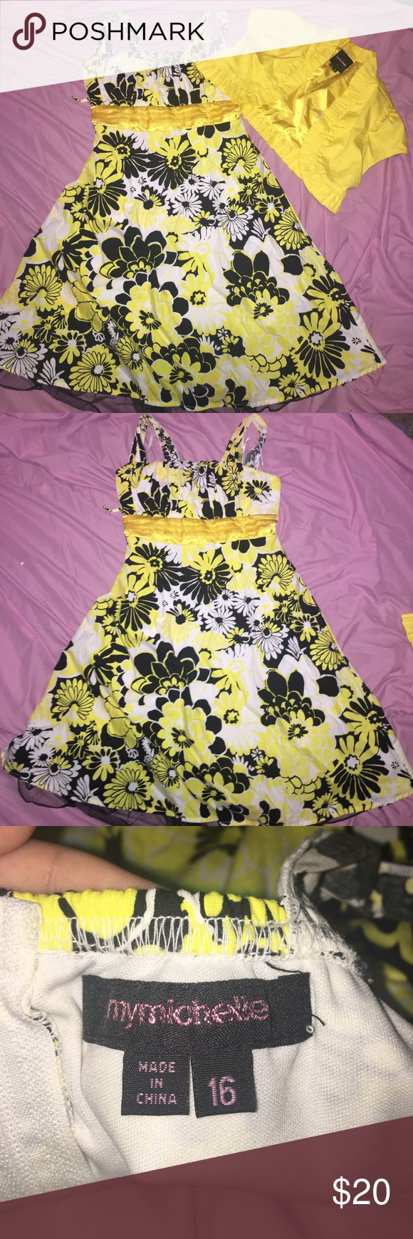 Floral Dress w/ Shrug Floral dress w/ yellow shrug. Great condition, NEVER worn Dresses Formal