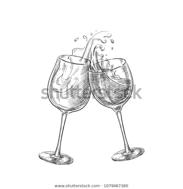 Two Wine Glasses Splash Drinks Sketch Stock Vector Royalty Free 1079067380 Wine Glass Images Wine Wine Glasses