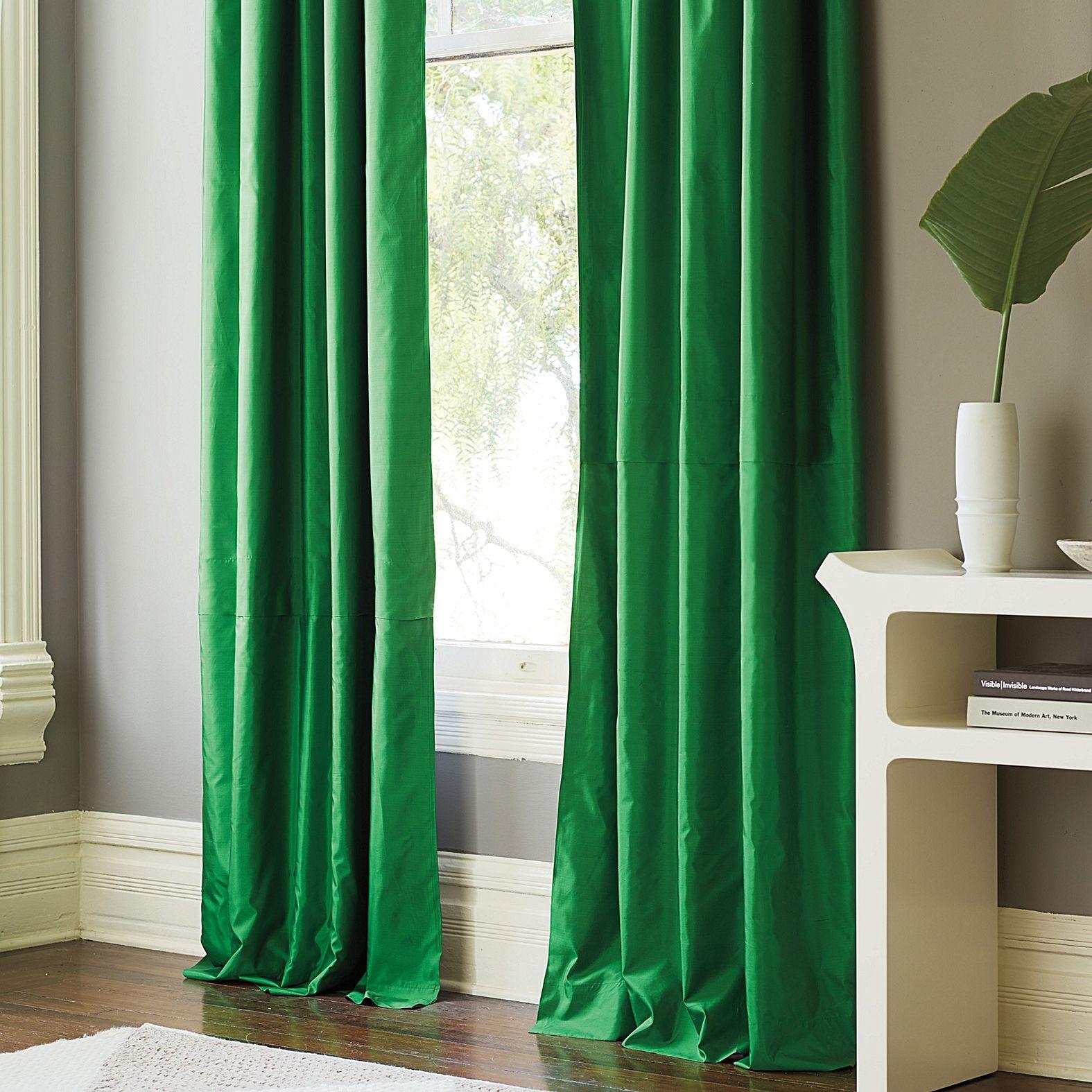 Silk Shantung Window Panel Malachite Serena Lily Green