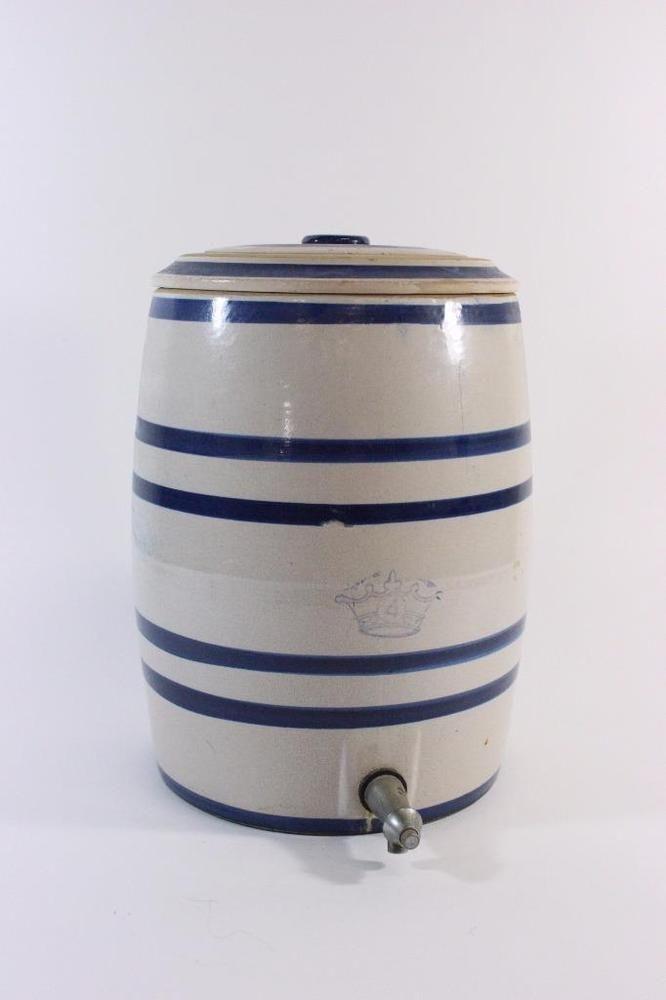 Old Large Salt Glaze Crock Blue Banded Stoneware Cooler W Spigot Crown 4 Jh Antique Ceramics Stoneware Crock