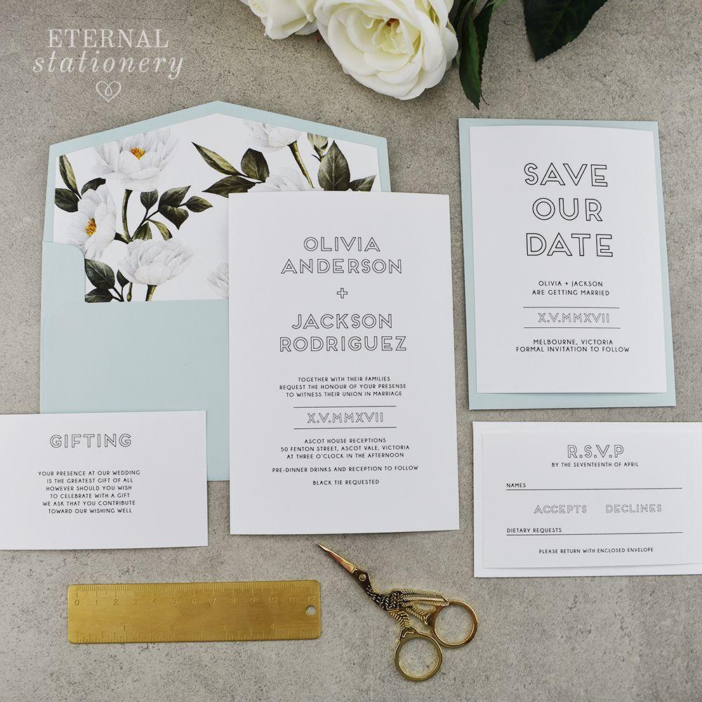 Modern botanical wedding invitation. Mint envelopes. Botanical ...