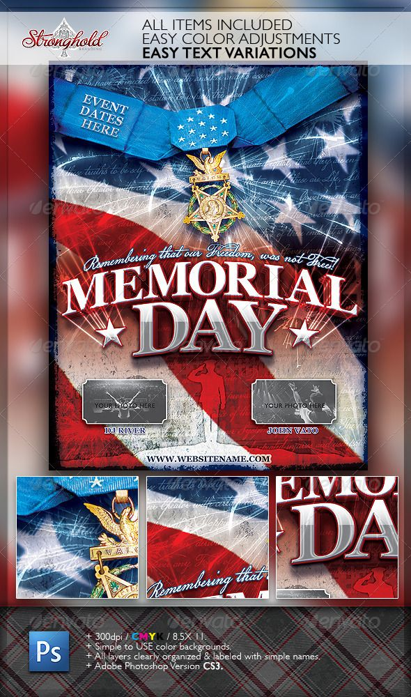 Memorial Day Patriotic Flyer Template  Flyer Template Template