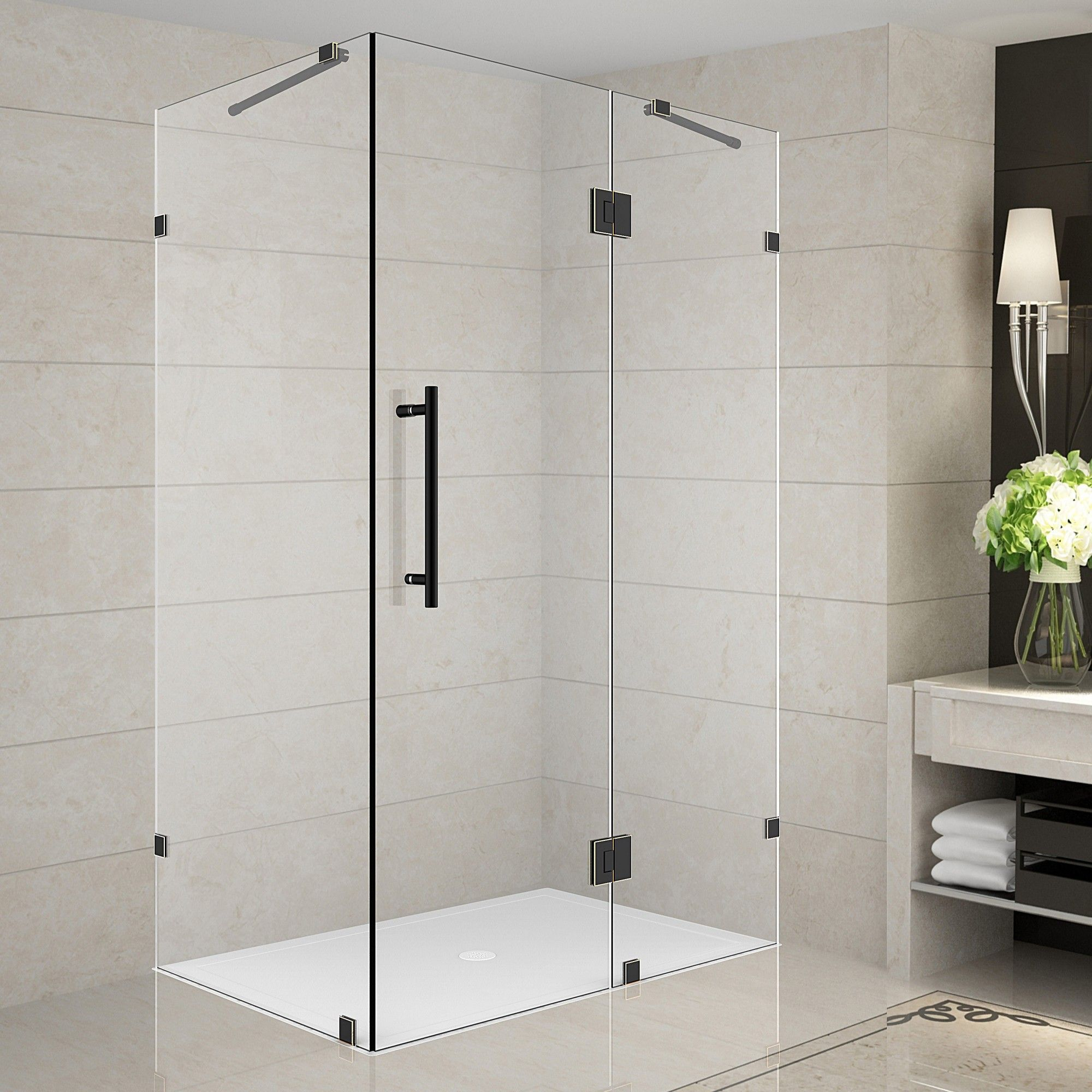 Avalux 33 X 72 Rectangle Hinged Shower Enclosure Frameless Shower Enclosures Shower Enclosure Frameless Shower Doors