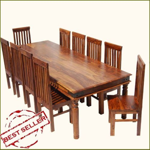 Rustic 10 Seat Dining Room Table Chair Set Large Solid Wood
