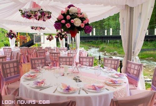 carpas de color rosa para bodas