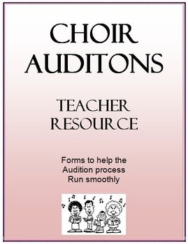 Choir Audition Forms From Teacherspayteachers Great Forms For