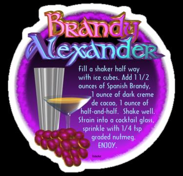 'Brandy Alexander recipe by Valxart ' Sticker by Valxart #brandyalexanderrecipe