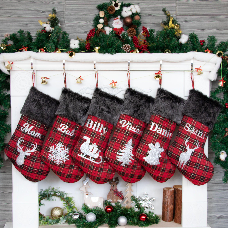 Personalized Christmas Stockings Red British Plaid Stocking | Etsy