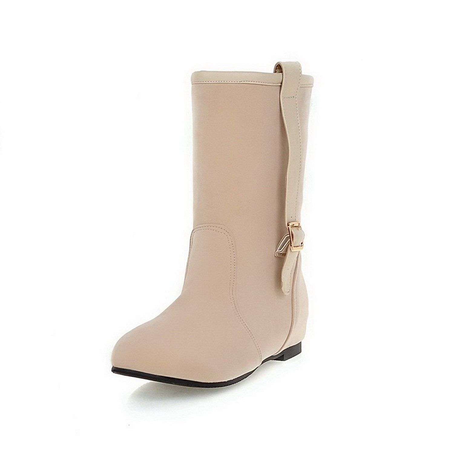 AmoonyFashion Women's Low-Heels Solid Round Closed Toe Frosted Pull-on Boots * Be sure to check out this awesome product.