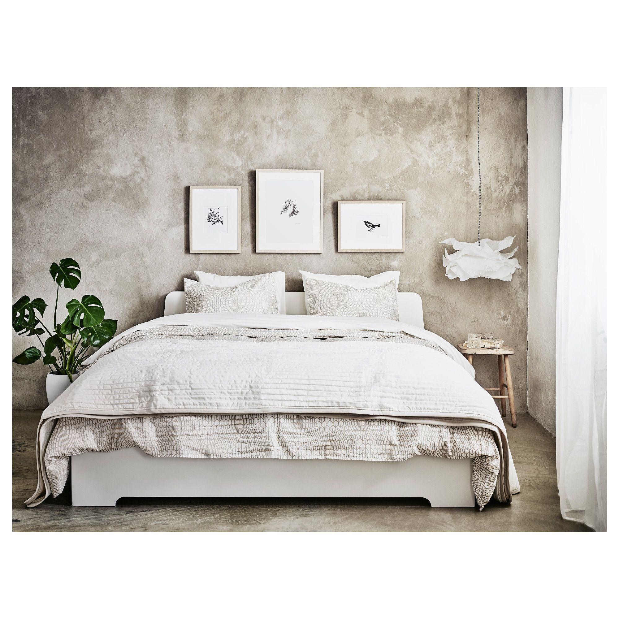 Askvoll Rama łóżka Biały Interiors Ikea Bed White