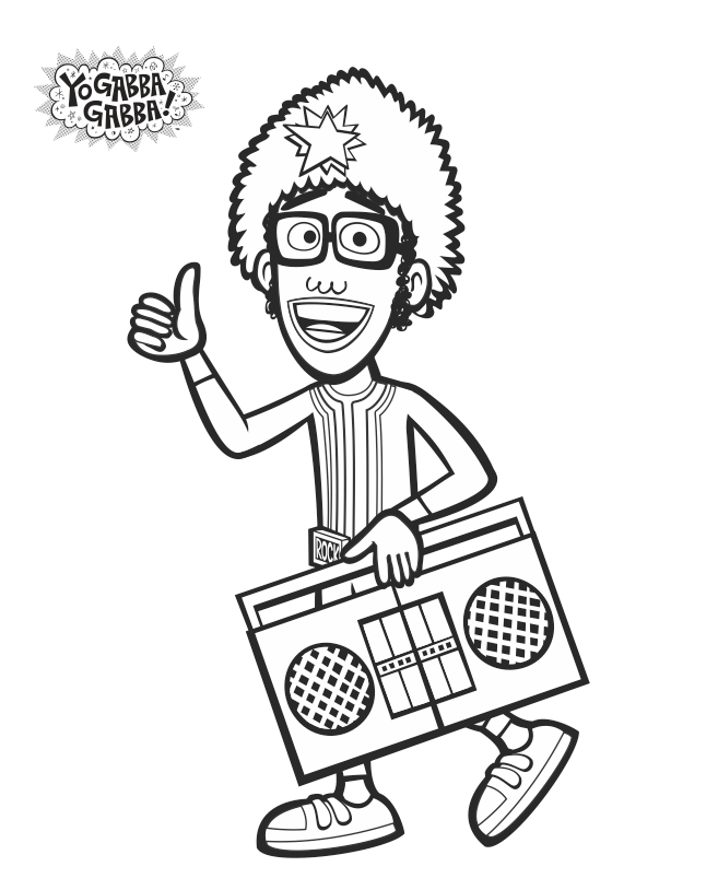 Djlance Coloring Sheet Yogabbagabba Coloringsheet Freeprintable Yo Gabba Gabba Printable Christmas Coloring Pages Coloring Pages