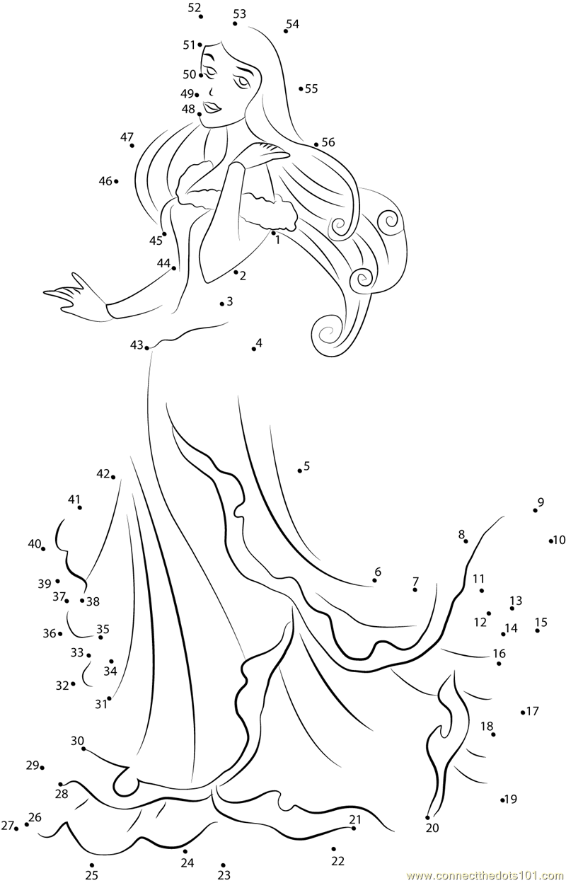 Download or print Briar Rose dot to dot printable worksheet from Cartoons,Sleeping-Beauty connect the dots category.