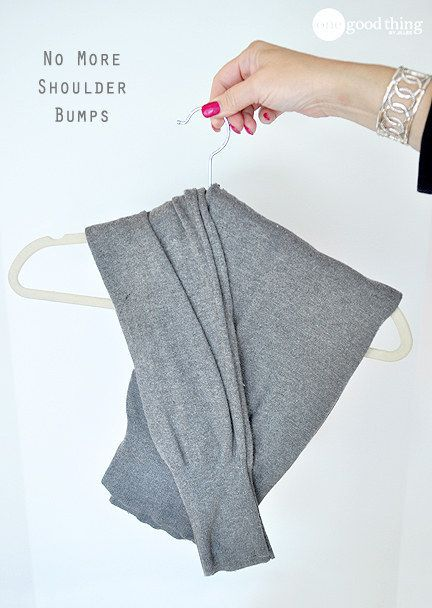 Hang sweaters without losing their shape by learning the ~fold-hang~. | 22 Borderline Genius Ways To Make Your Clothes Last Longer
