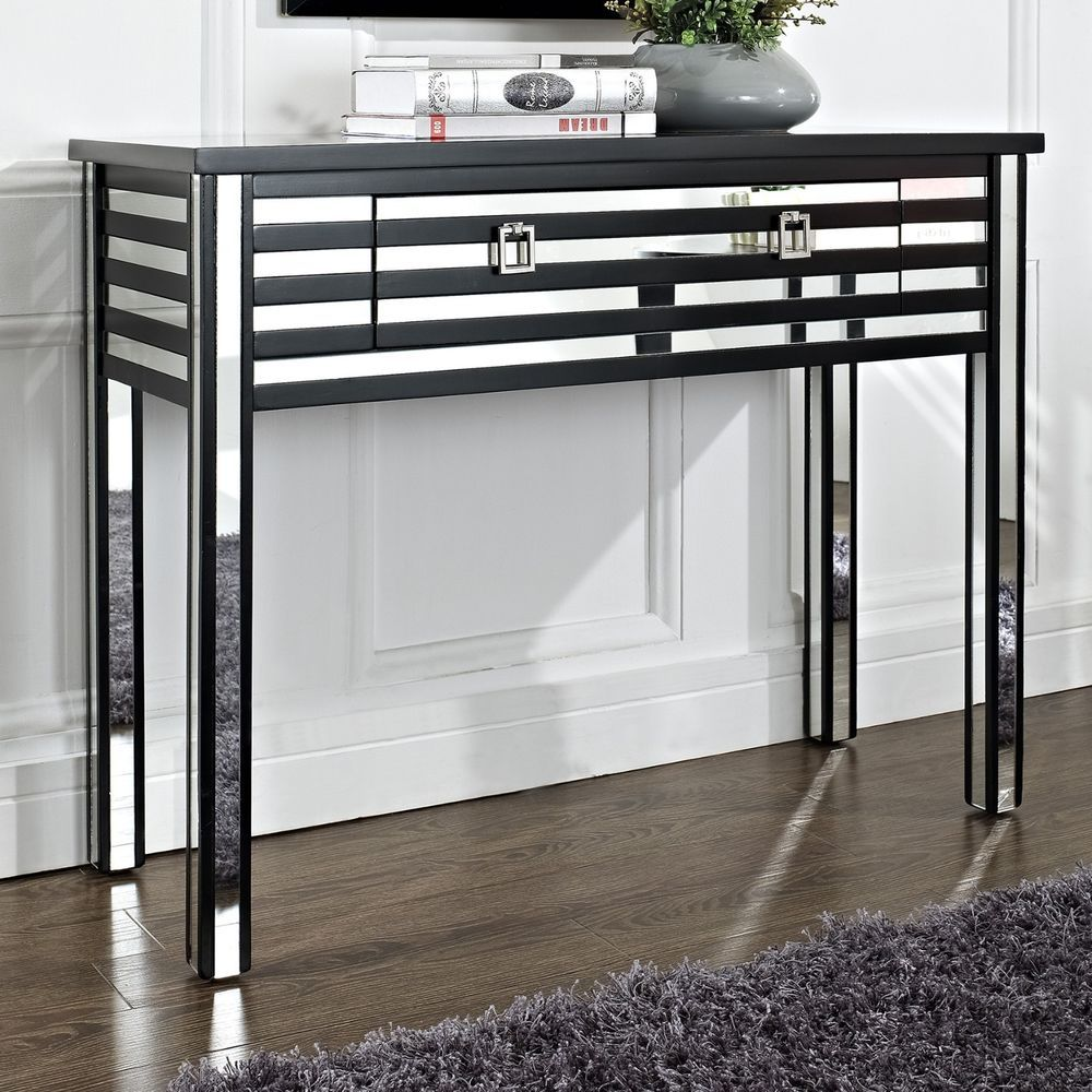 modern mirrored furniture. Modern Style Striped Mirror Entry Hallway Accent Console Sofa Table #Modern Mirrored Furniture