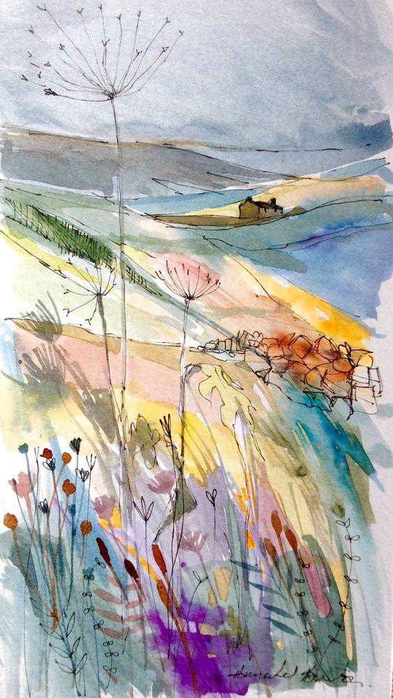 Original Watercolour Landscape Painting Hill Top Farm By Annabel Burton Watercolor Landscape Paintings Abstract Watercolor Watercolor Art