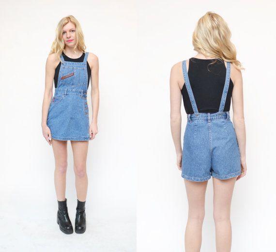 90s denim suspender overall mini shorts skort // grunge revival ...