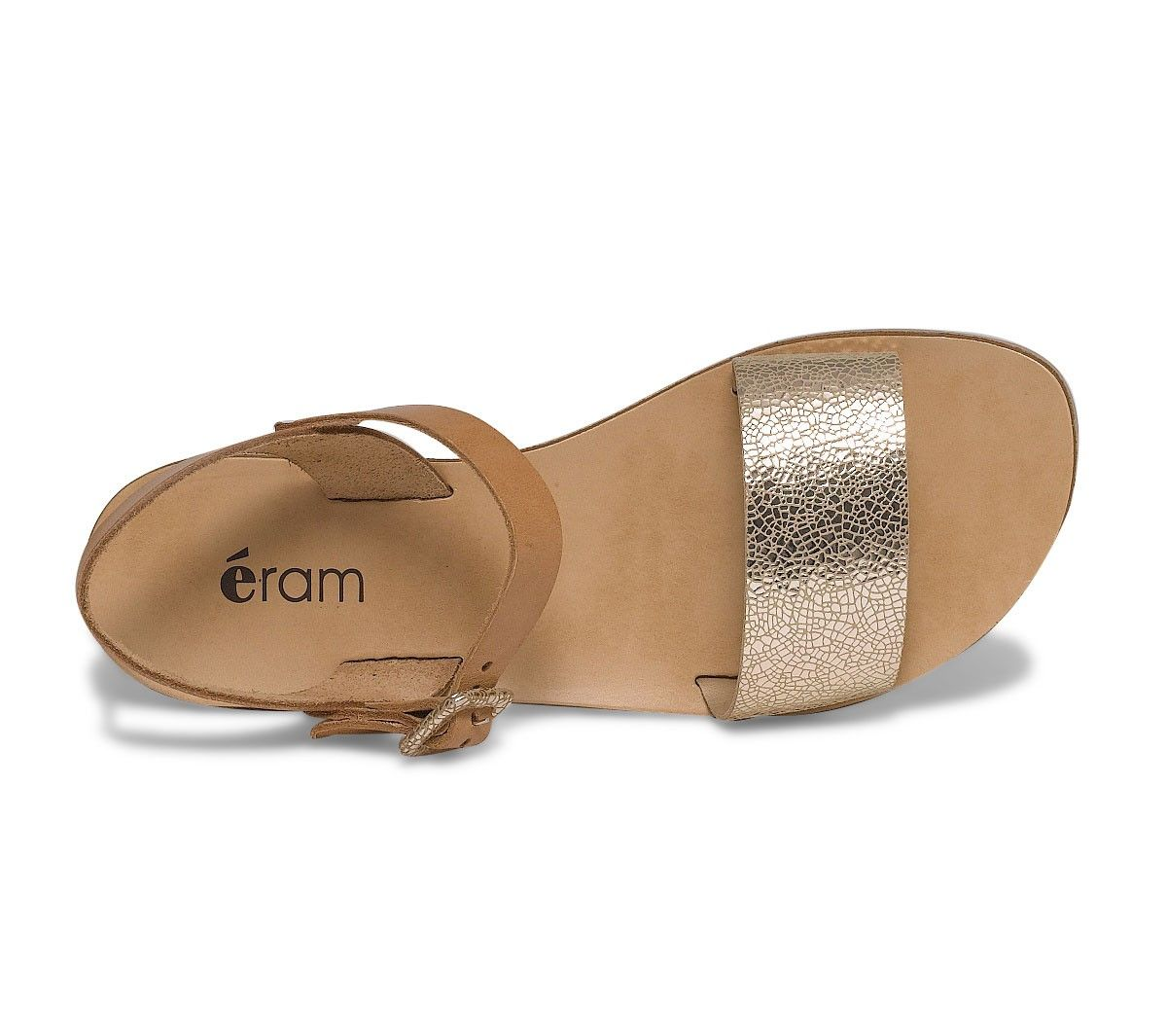 44348e17b16 Sandale plate cuir dorée et camel