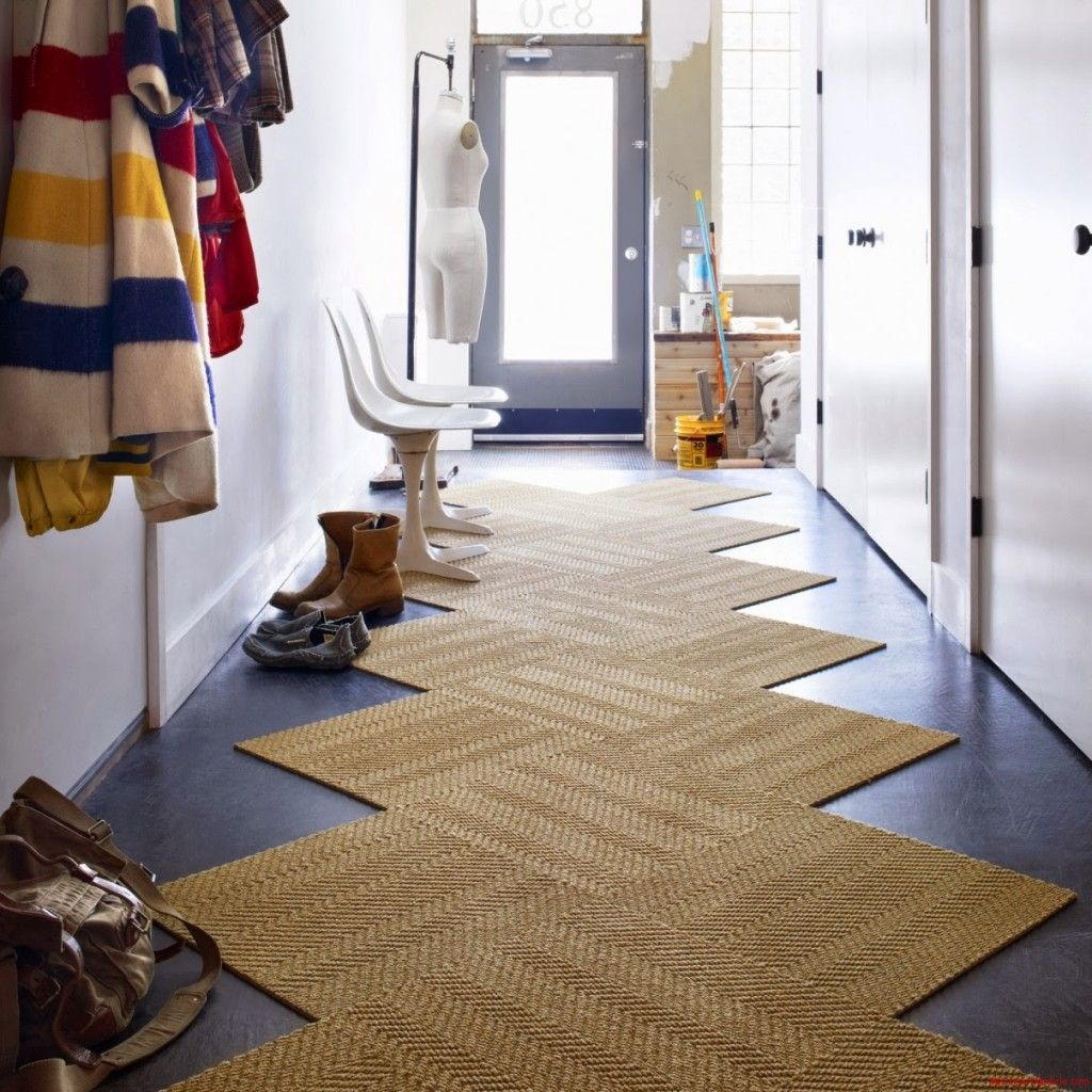 Unique Shape Natural Oft Brown Carpet Color Hallway Runners With White Wall  Color Long Rug Or