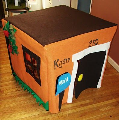 Felt playhouse over card table...could have possibilities of a great hiding place for Mom!