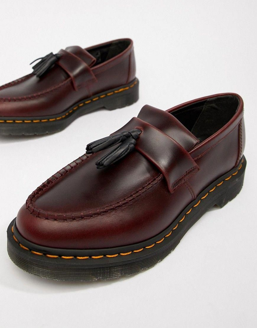 Dr Martens Adrian Tassel Loafers In Deep Red Red Dr Martens Shoes Docmartensoutfits Doc Martens Loafers Dr Martens Shoes Loafers Outfit