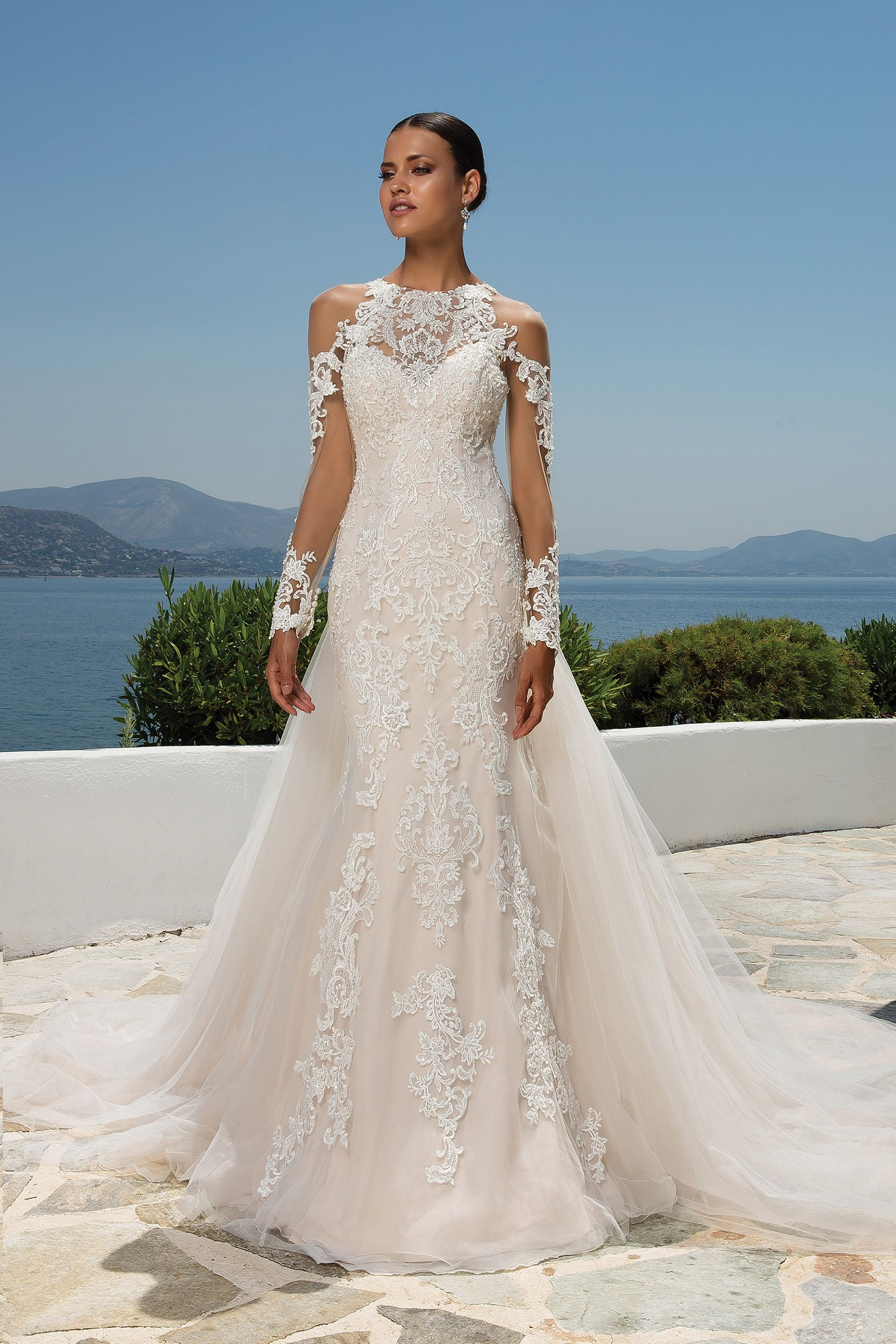 Wedding dress with removable train  Beaded Lace Jewel Neck Gown with Cold Shoulder Illusion Lace