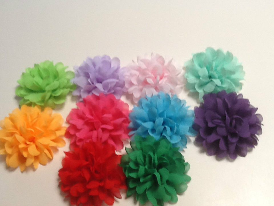 60MM  FLOWERS SOLID TULLE PUFFY WITH PAD ON BACK NICE FOR HEADBANDS CLOTHES au.picclick.com $1.15