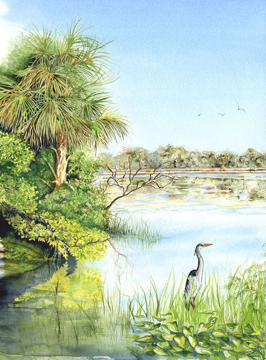 Heron In The Morning - Christine Reichow Watercolor Artist (239) 433-3817