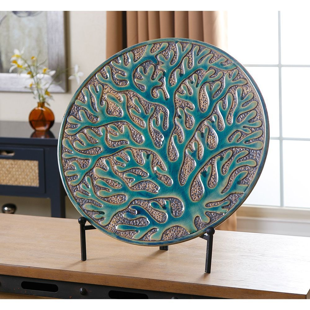 Abbyson Coral Charger Plate With Stand Coral Green